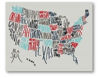 united states typography map poster handwritten us states art usa map art usa
