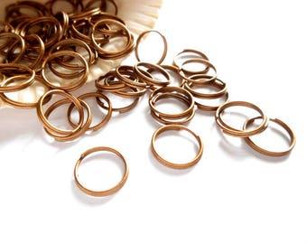 50 Antique Copper Double Loop Split Jump Rings 10mm - 10-AC10-DL