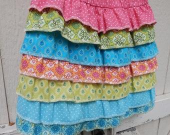 Ready to Ship Little Girls Ruffled Skirt Matilda Jane Inspired Skirt Little Girls Ruffled Skirt Rainbow Skirt