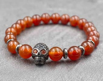 Skull bracelet men Red and black skull jewelry Men beaded bracelet Beaded men bracelet Gift for Men Courage bracelet Carnelian bracelet mala