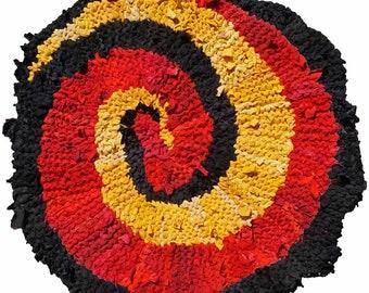 Red & Gold Spiral Handknit Rag Rug