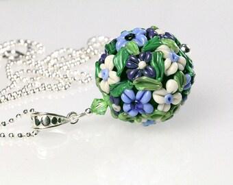 Sterling silver lampwork pendant,  floral ball, sra