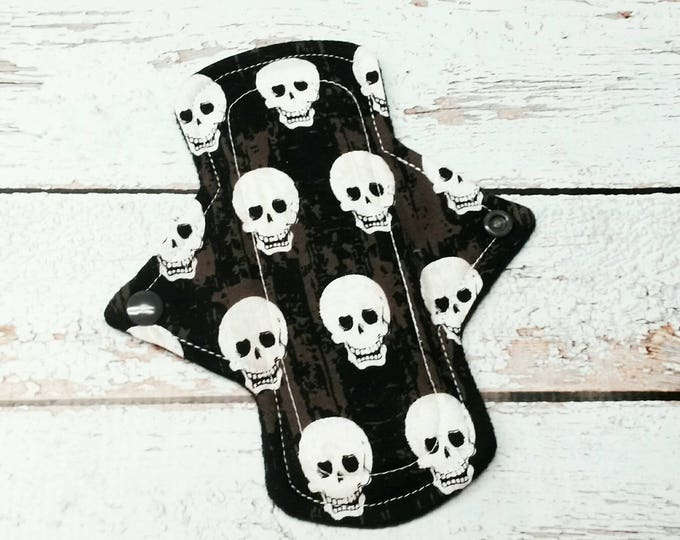 "Reusable Cloth Menstrual Cotton Pad 7"" Light to Moderate Flow Skulls"