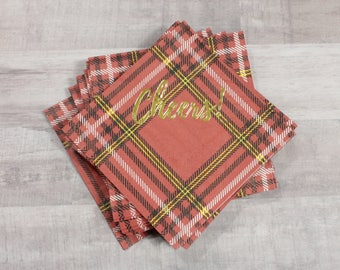 """25 or 50 Red Tartan """"Cheers!"""" Gold Foil Napkins - Plaid"""