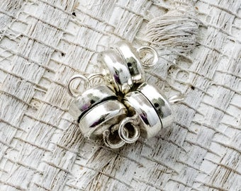 6 Silver Plated 6mm Magnetic Barrel Clasps - Silver Barrel Clasp -  6mm Silver Magnetic Clasp - 1237 - Super Strong Magnet Clasp - Set of 6