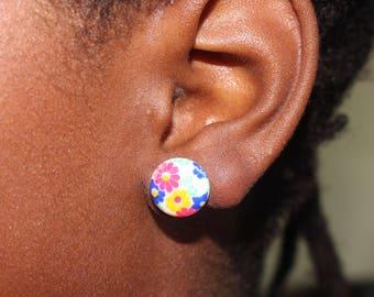 Flower Stud Earrings   Festive Earrings   Flower Studs   Stud Earrings   Titanium Earrings   Hypoallergenic Studs   Multicolor Studs