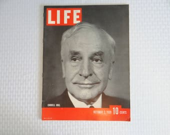 Near Mint 1939 Life Magazine Wartime Issue, October 2 , Cordell Hull Secretary of State for War - Invasion of Poland