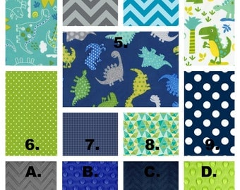 Crib Bedding Set, Dinosaur, Baby Blanket, Blue Green Gray, Nursery Decor, Baby Shower, Boppy Cover, Changing Pad, Skirt, Crib Sheet, Bumpers