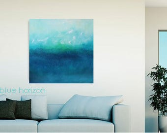 BLUE HORIZON Original Art Oil Painting Gallery Canvas Sky Landscape Water Home Wall Hanging Large Big Square Modern Abstract Living Room