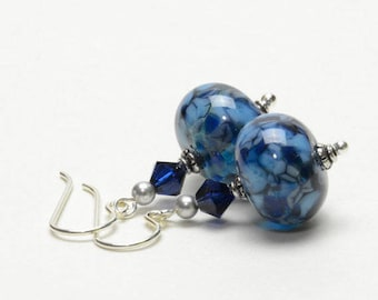 Mixed Blue Lampwork Earrings - Dark Blue and Light Blue Lampwork Glass Earrings on Sterling Silver Earwires