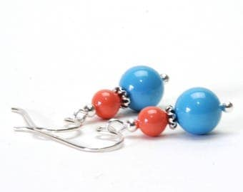 Coral and Turquoise Pearl Earrings with Sterling Silver Earwires