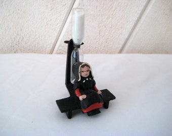 Hour glass timer, three minute Egg timer, vintage Amish girl, metal, glass, miniature, made in West Germany, 60s or 70s