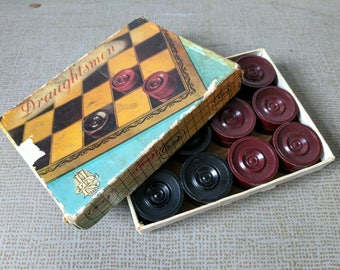 Black and Red Bakelite Draughtsmen R H Ltd Made in England Fully Complete Draughts Original Box 1950s Checkers Boardgame Fun Toy Vintage Toy