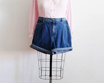Plus Size - Vintage Denim High Waist Pleated Shorts (Size 16)