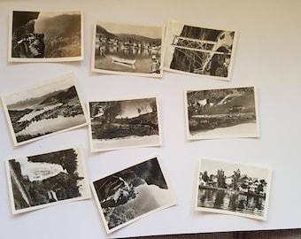 Vintage Photo Pack of Norway 9 photos (C), UK United Kingdom scenery, ephemera junk journals scrapbooks smashbook, sepia, black and white