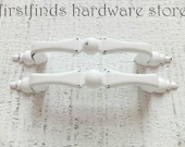 2 Shabby Chic White Drawer Pulls Kitchen Cabinet Handle Painted Small Thin Furniture Hardware Cupboard Door Metal 3inch ITEM DETAILS BELOW