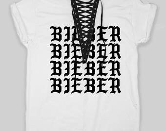 Purpose Tour Justin Bieber Belieber Reworked LF Inspired Lace Up Laceup Laced Tee