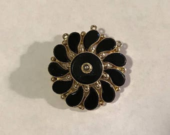 Antique 14k Gold and Black Onyx Mourning Brooch ~ Pendant