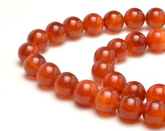 10 mm Natural Red Agate Gemstone Round Full Strand Red Orange Stone Beads, 2 mm Hole