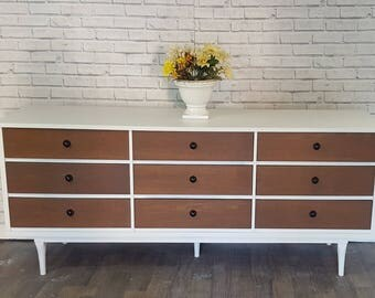 Available Walnut and white Mid century Modern Dresser