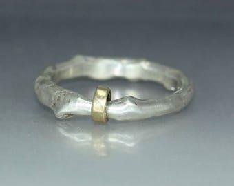 A handmade  Man Womans Silver Gold Wedding Band Organic  Ring Mens  Ring Rustic Silver  Ring
