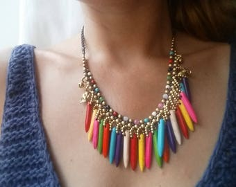 Handmade bohemian beaded necklace colourful and light brass material