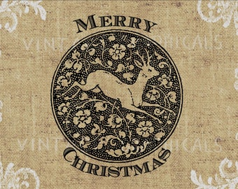Merry Christmas Deer Flowers instant graphic Digital download image for paper iron on transfer Burlap Decoupage Pillow Cards No. gt287