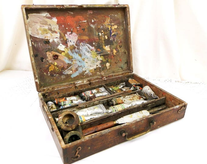 Antique Wooden Dovetail Paint Box for Traveling Artist, French Outdoor Art Box Made of Oak Wood with Brass Handle, Painter from France