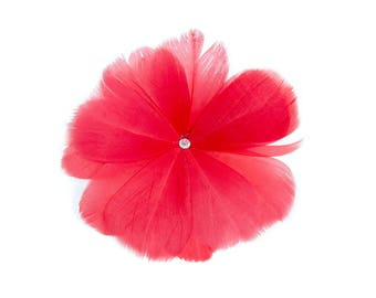 """4 1/2"""" Red Feather Flower with Crystal Center - Available in 12 Colors"""