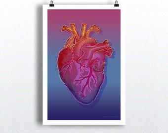"Pop Art Heart 01, 13"" x 19"" Heart Art Print, Anatomy Medical print,  Cardiologist gift, Colorful Heart, Warhol Style art, Heart Doctor gift"