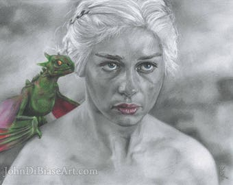 Print of Emilia Clarke as Daenerys Targaryen in Game of Thrones Colored Pencil and Graphite Drawing (8.5 x 11)