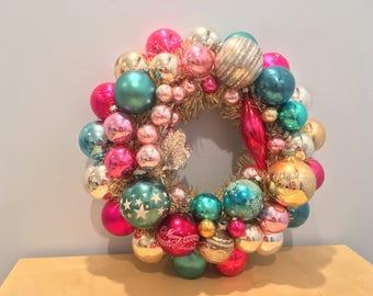 Shabby Chic Christmas Vintage Shiny Brite Ornament Wreath