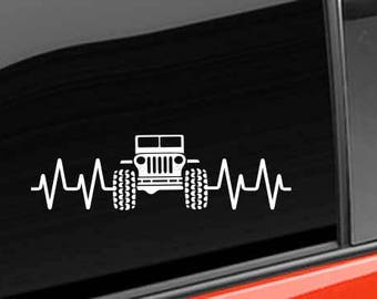 Jeep Decal | Heart Beat Jeep Decal  |  Jeep 4x4 Vinyl Decal  Jeep Hills Vinyl Decal  Jeep Vinyl Decal