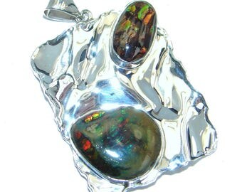 Ammolite Sterling Silver Pendant - weight 10.50g - dim L- 1 3 4, W - 1 1 8, T- 3 16 inch - code 8-mar-17-58
