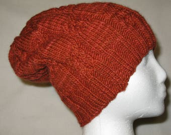 100% Wool Knit Hat - clay red with cable texture