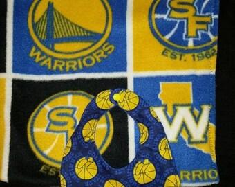 Golden State Warriors Blanket and Bib Set