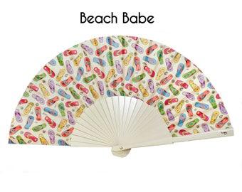 Designer HAND FAN | Pop Art flip flops beach design | beach accessories | multicolor | summer accessories | Free Shipping Worldwide