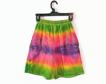 Vintage Shorts size extra small xs 1990s tie dye tye die fun long loose