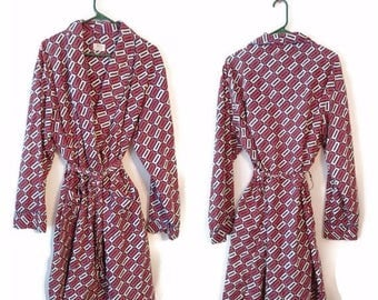 ON SALE Vintage SIESTA Robe geometric pattern 1970s size Xl