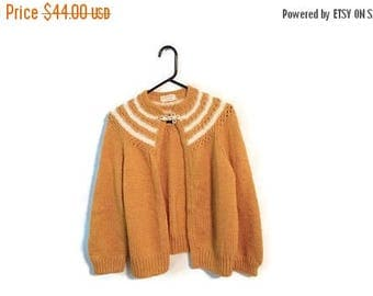 ON SALE Handmade hand knitted Sweater size M/L mustard brown cardigan