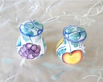 Summer Sale Ceramic Fruit Salt and Pepper Shakers, Vintage Items, Pears, Grapes, Apples