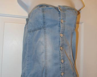 Vintage 1990s Denim Jean Romper For A Fun Weekend With Lace Up Back