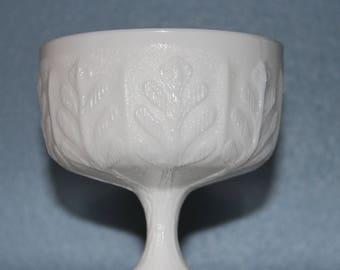 1978 FTD Tree Pattern Milk Glass Planter / Flower Arrangement Bowl - Home Table Decor - Centerpiece