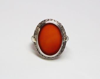 Art Deco 14k White Gold, Carnelian Filigree Ring