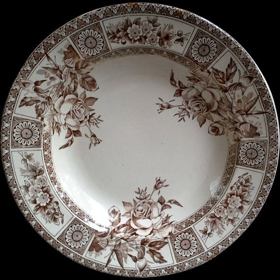 Antique Aesthetic Movement Soup Plate, Shallow Bowl, Brown Transferware Soup Plate, Garfield, Wallis Gimson Potteries, 1885