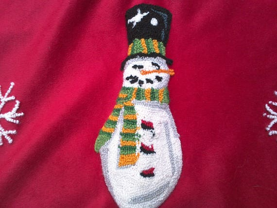 Vintage Needle Punch, Hand Hooked Christmas Tree Skirt, Snowmen, Holiday Linens, Christmas Decor