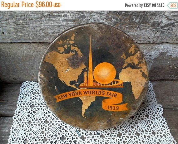 Worlds Fair 1939 Large Tin RARE Advertising Tin