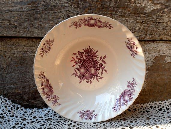 Purple Transferware Large Serving Bowl Desire by Royal Wessex White Ironstone Swinnertons England