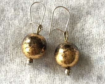 Antiqued Gold dangling earrings Burnished gold metal balls gift for her Weddings Bridesmaids favourite aunt gift