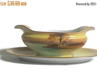 Noritake, Gravy Boat, Tree In The Meadow, Discontinued pattern, circa 1918, gravy boat w/attached underplate, vintage Noritake China